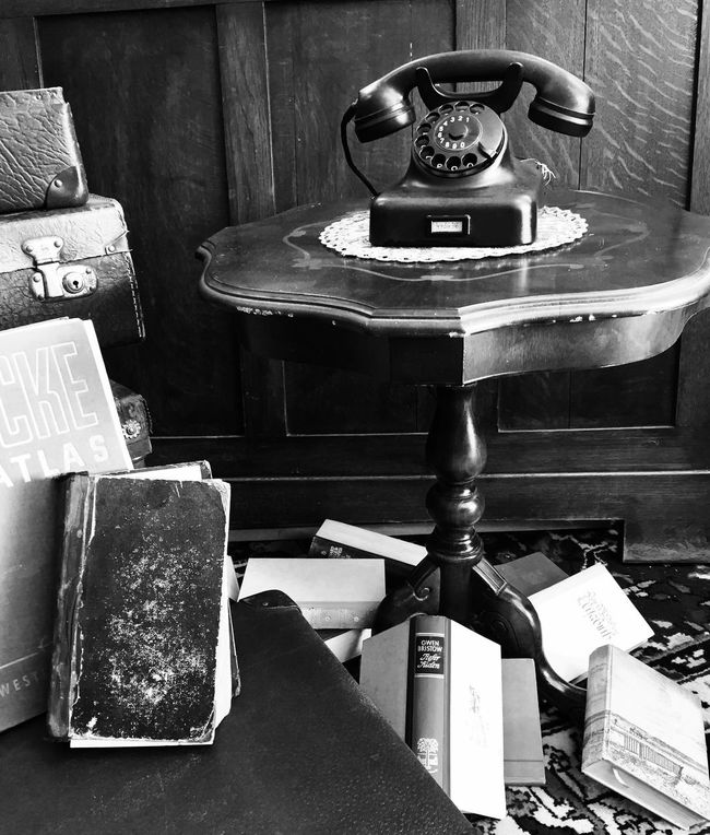 Book Old-fashioned Retro Styled Table Communication Telephone Indoors  Rotary Phone Reading Reading A Book Phone Noselfie Table Setting Missmarple Blackandwhite Black And White Black & White