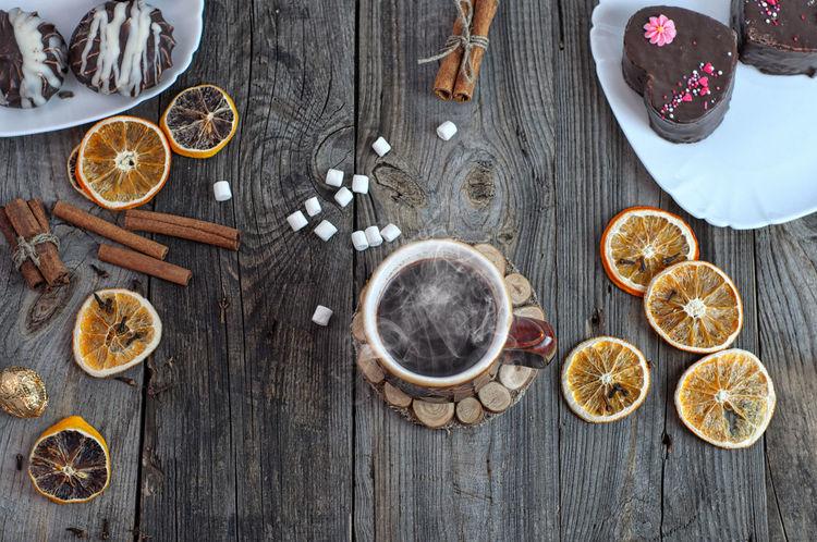 Beverage Cake Cinnamon Coffee Drink Food Food And Drink Freshness Hot Ingredient No People Orange Sweet Wood - Material