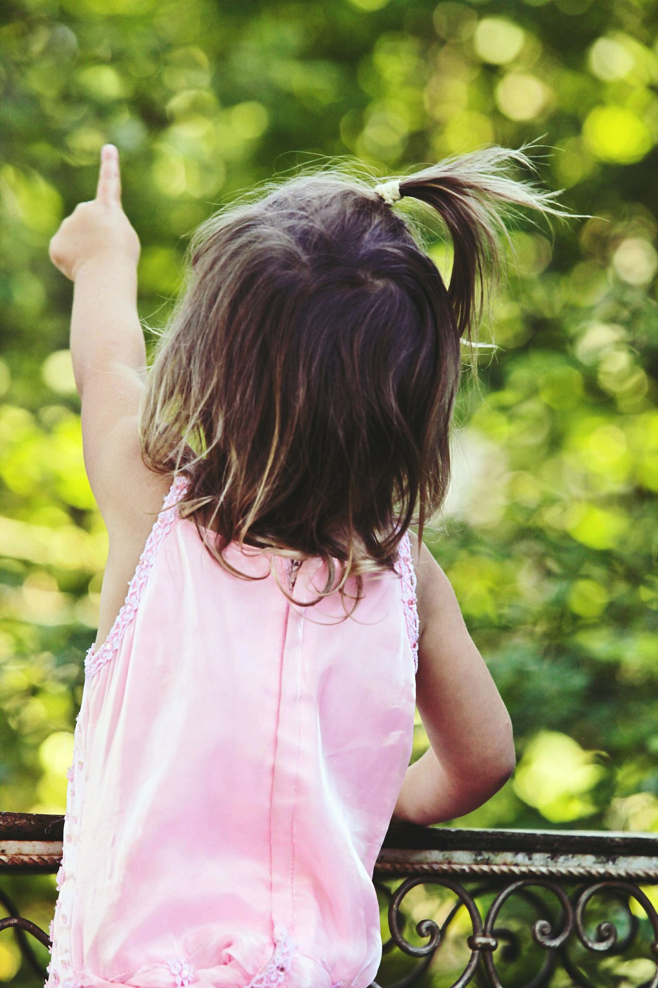 Child One Girl Only Girls Rear View One Person Children Only Happiness Back Hair Day Innocence Childhood Outdoors Pointing Pointing Fingers EyeEmNewHere