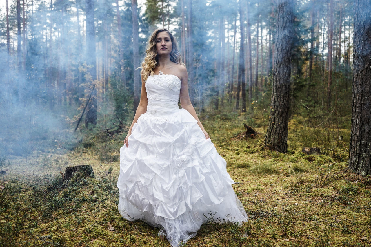 wedding, bride, wedding dress, forest, young adult, tree, white color, adult, dress, full length, one person, beautiful woman, young women, beautiful people, adults only, only women, nature, one woman only, women, wife, celebration, beauty, happiness, outdoors, one young woman only, people, day, beauty in nature, real people, females, portrait, standing