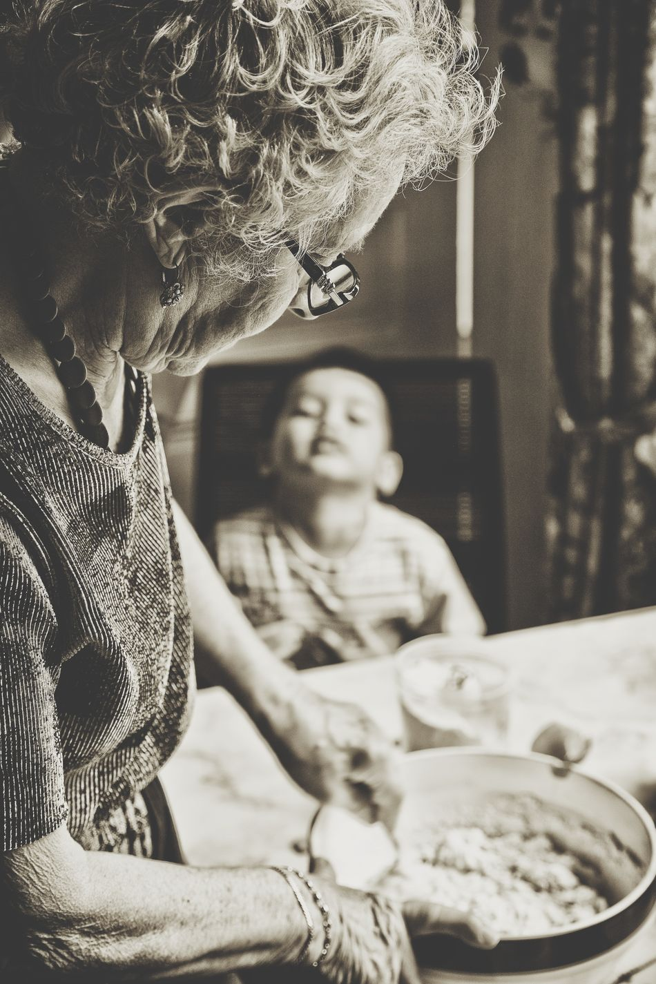 Beautiful stock photos of granny,  6-7 Years,  80 Plus Years,  Assistance,  Bowl