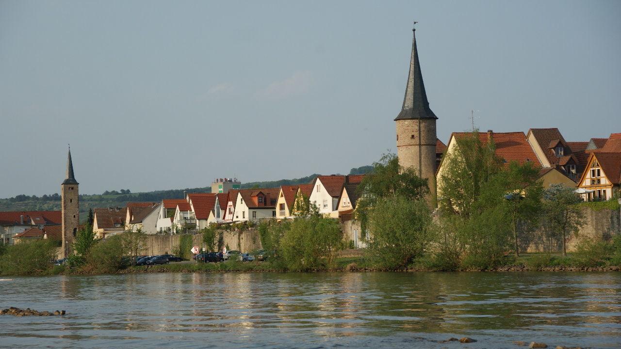 Dorf Fluss Karlstadt Main Riverside Village Wasser Water