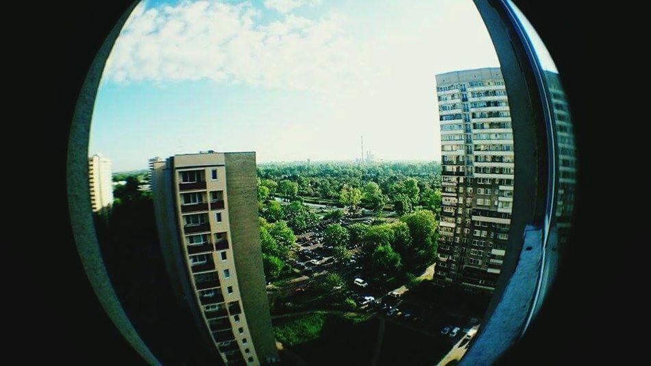 Morning View Window City Warsaw Blocks Sky And Clouds Fisheye Photo