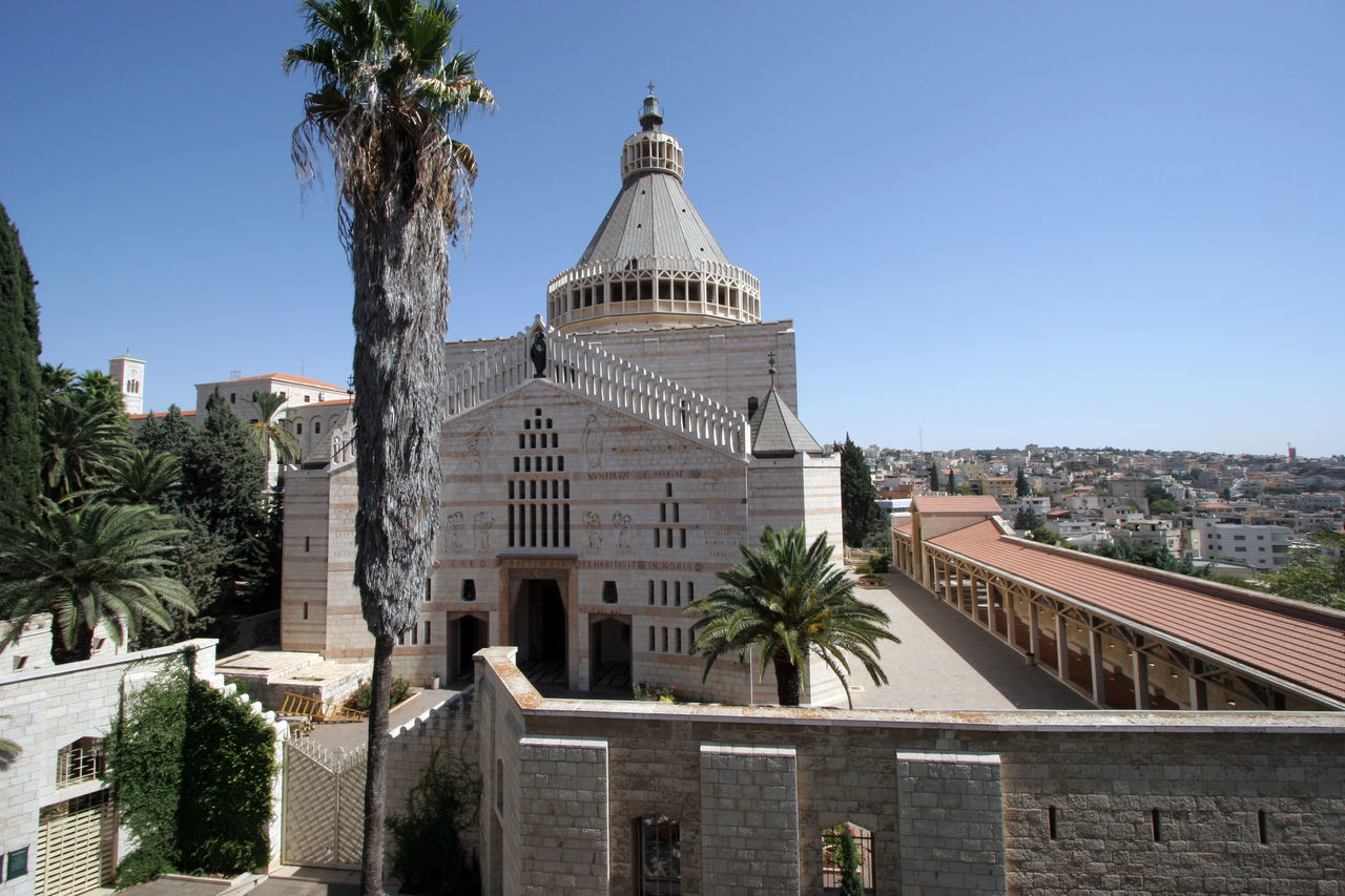 Basilica of the Annunciation, Nazareth, Israel Annunciation Archangel Gabriel Architecture Basilica Biblical  Building Exterior Christianity Church Dome Franciscan Holy Land Israel Middle East Nazareth Palestine Religion Sacred Shrine Spirituality Travel Destinations Tree Virgin Mary Worship