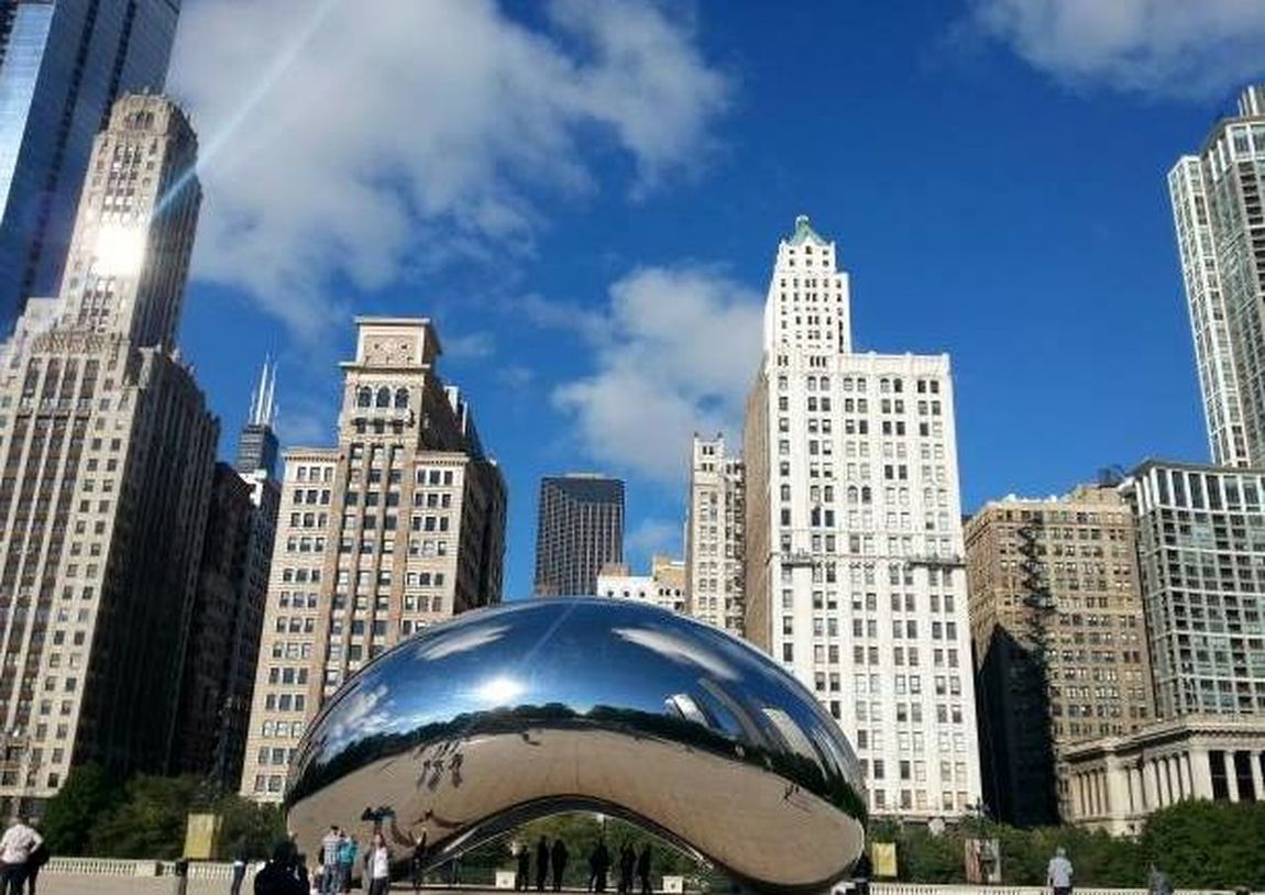 Anish Kapoor Blue Sky Chicago Cloud Gate Composition Downtown Chicago Modern Skyline Skyscrapers Landscapes With WhiteWall