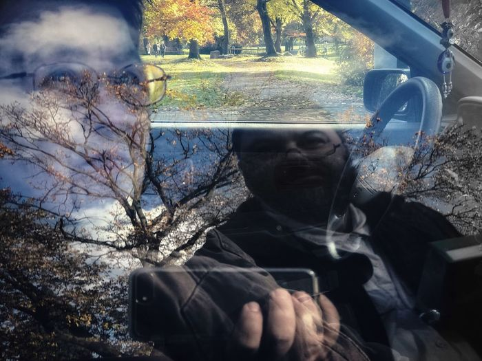 1POI Dual Environmental Portrait Tree Real People Day One Person Car Leisure Activity Outdoors Nature Forest Sitting Branch Close-up Reflections Car Interior Landscape People