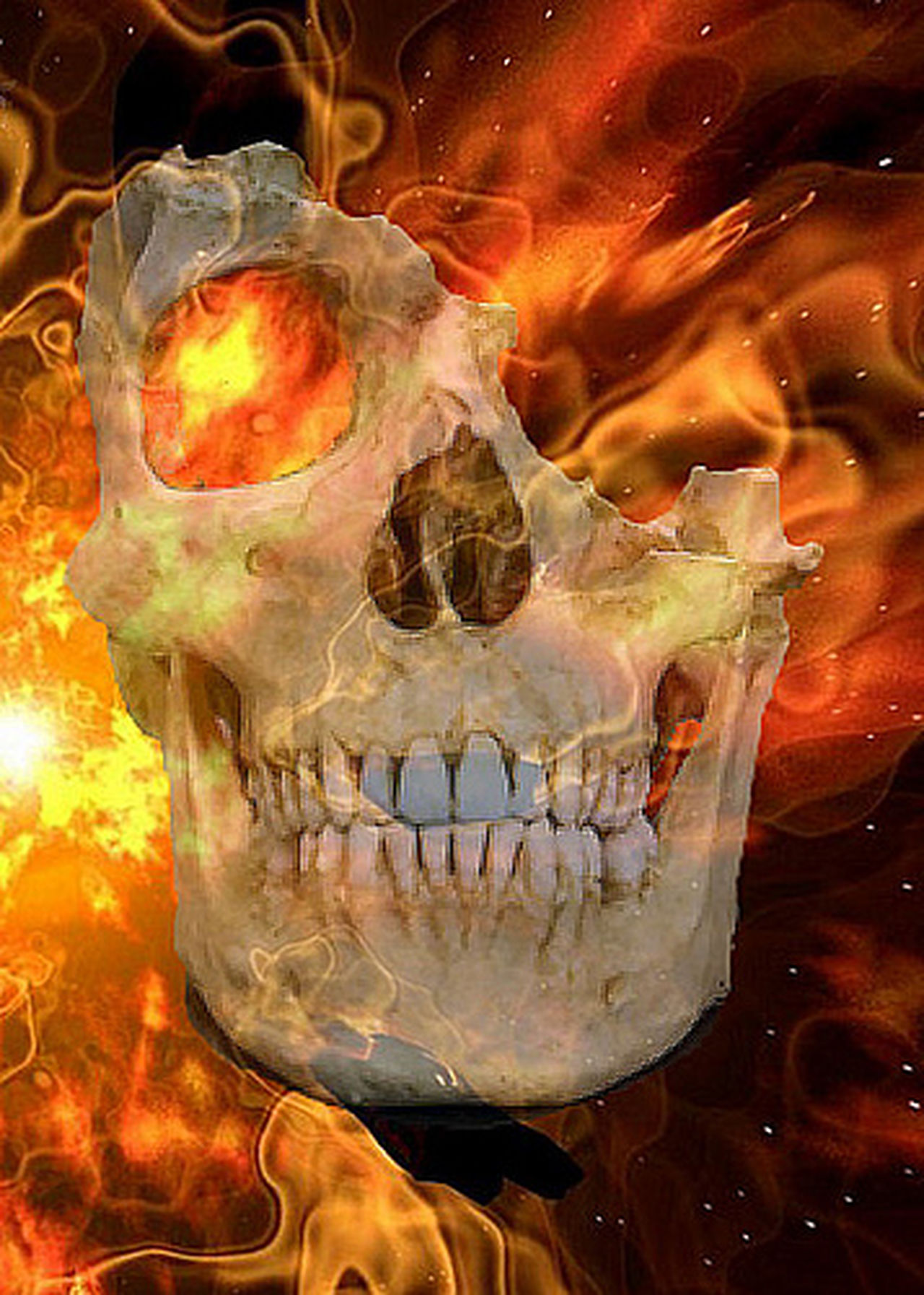 Flaming Skull Close-up Hot Flames & Fire Flames Burning On Fire Fire Human Body Part Digital Art Skull
