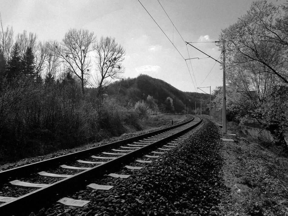 There is something magical about railroads and trains. Something mysterious, something beautiful :) Railroad Track Transportation Rail Transportation Sky Tree Day No People Outdoors Nature Leica Lens Huaweip9photos HuaweiP9shots Leica Dual Camera Leicaphotography Huawei P9 Leica Oldtime Old But Awesome Rails Railway Bosniaandherzegovina Scenics Railroad Track Transportation Landscape Blackandwhite