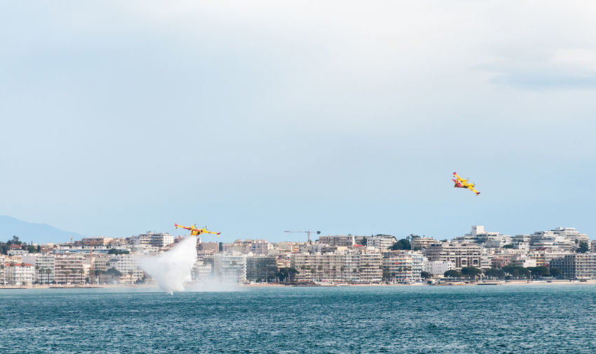 Canadairs training Antibes Canadair Canadair CL-415 Cannes City Côte D'Azur Fire Bomber, Fire Plane Firebombers Flying French Riviera Nature Outdoors Sky Sécurité Training Water