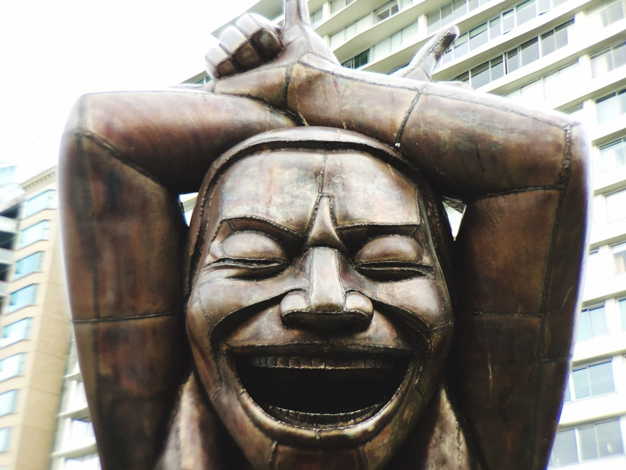 The Laughing Man Human Representation Close-up Human Face Possitive Mind Laughter Is The BEST Medicine Laughing Out Loud Laughing Vancouver BC Possitivealtitudes Statue Bronze Sculpture City