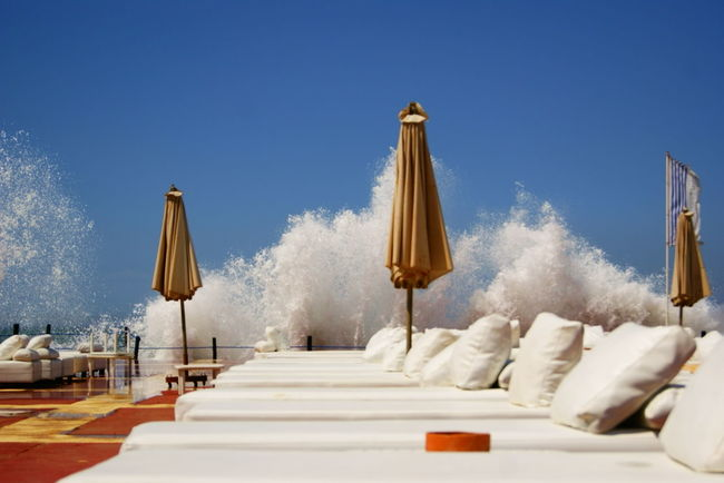 Blackandwhite Nature Force Orange Sky Sunchair Waves Crashing Waves, Ocean, Nature White Yellow