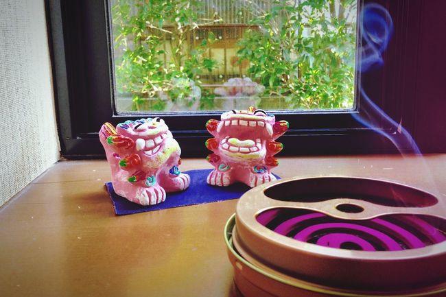 蚊取り線香🌪 incense used to repel mosquitos Mosquitoswannaeatme シーサー Schiesser Okinawa_love めんそ〜れ〜♪