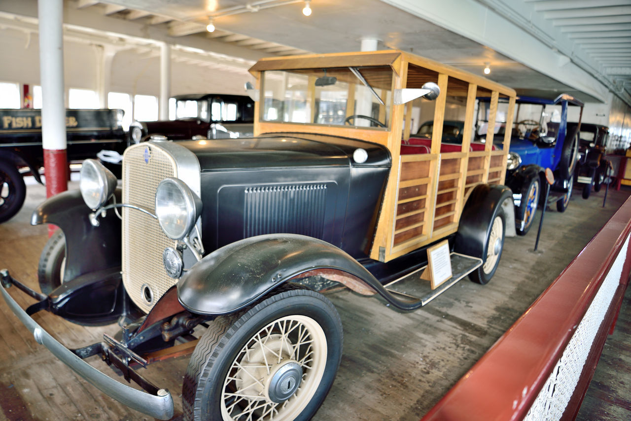 Antique Vehicles On-board Eureka 5 Ferryboat Docked Hyde Street Pier San Francisco CA🇺🇸 Side-wheel Paddle Steamboat Built 1890 Wooden Hull Originally Named Ukiah 1890-1922 Retrofitted 1922 & Renamed Eureka Vintage Passenger Ferry Carried 2300 People & 120 Auto Hauled Railroad Freight Cars At Night Certified To Carry 3500 People In Serice To 1958 Ferry Service Ended 1941 Museum Ship Tours San Francisco Maritime National Historic Park National Register Of Historic Places 73000229 Antique Vehicles Woody Wagon
