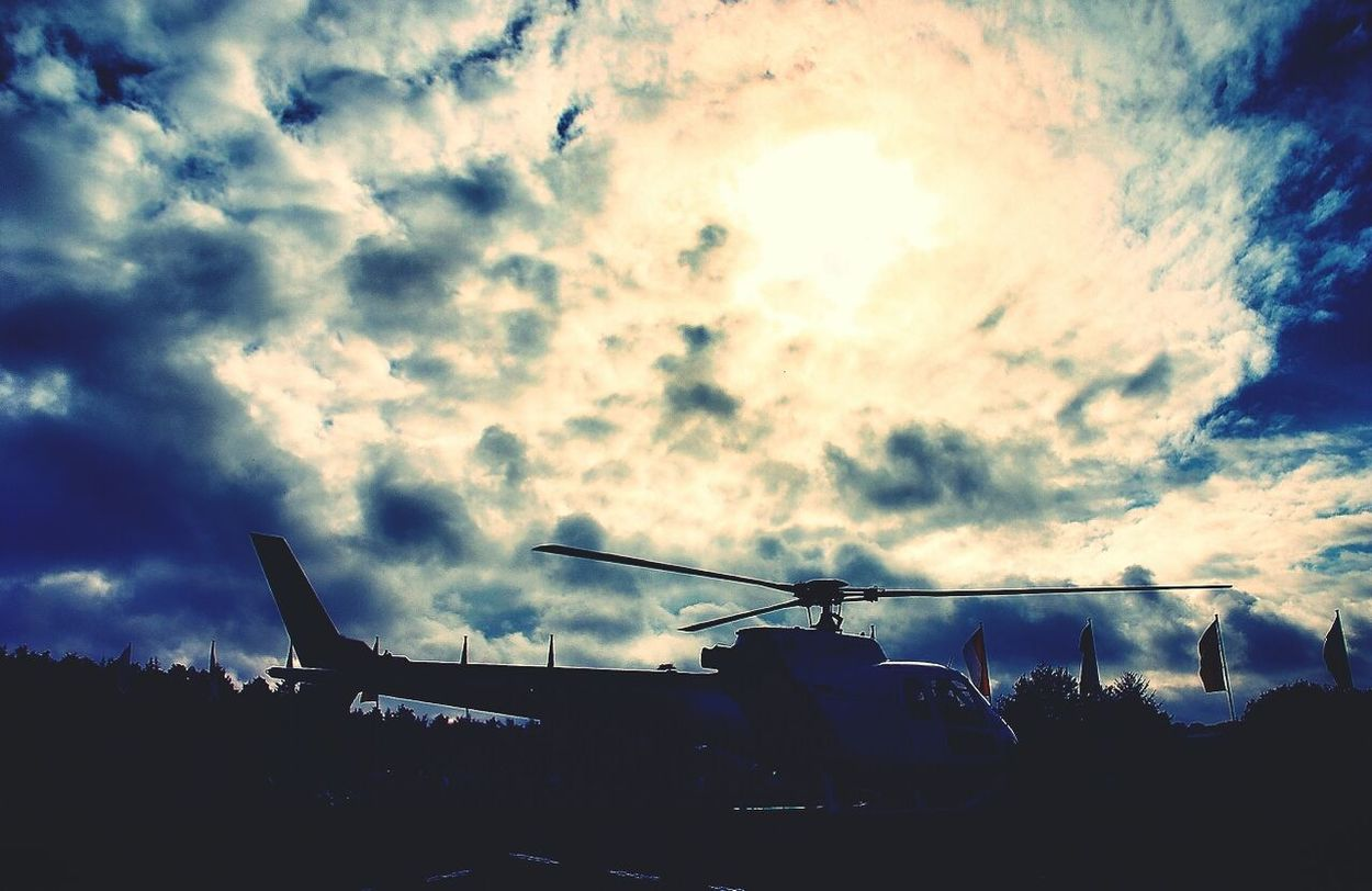 Helicopter Sky Clouds Rotorblade