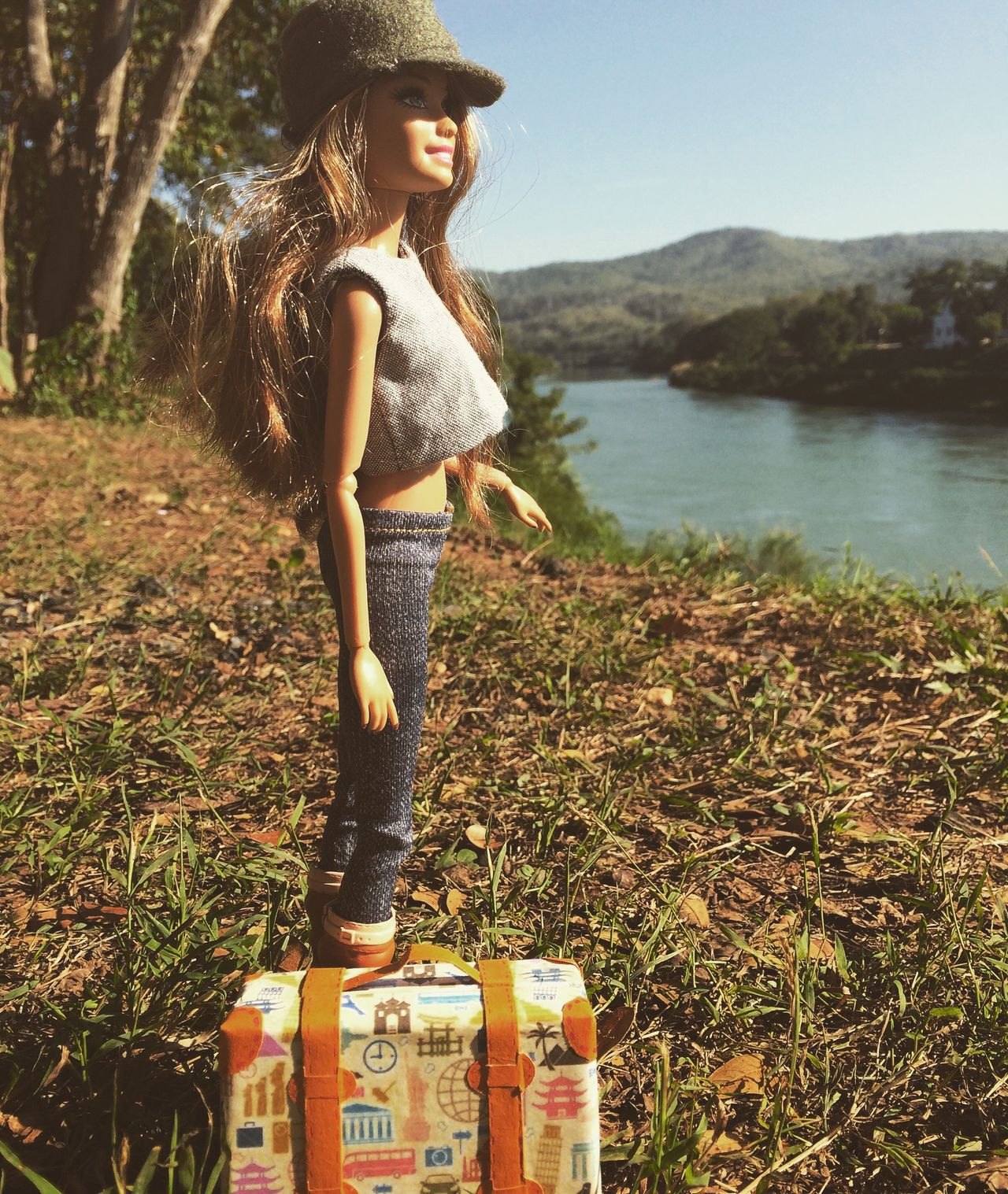 Barbie Barbie Collector Beauty In Nature Casual Clothing Doll Photography Grass Leisure Activity Lifestyles Mountain Nature Tranquil Scene