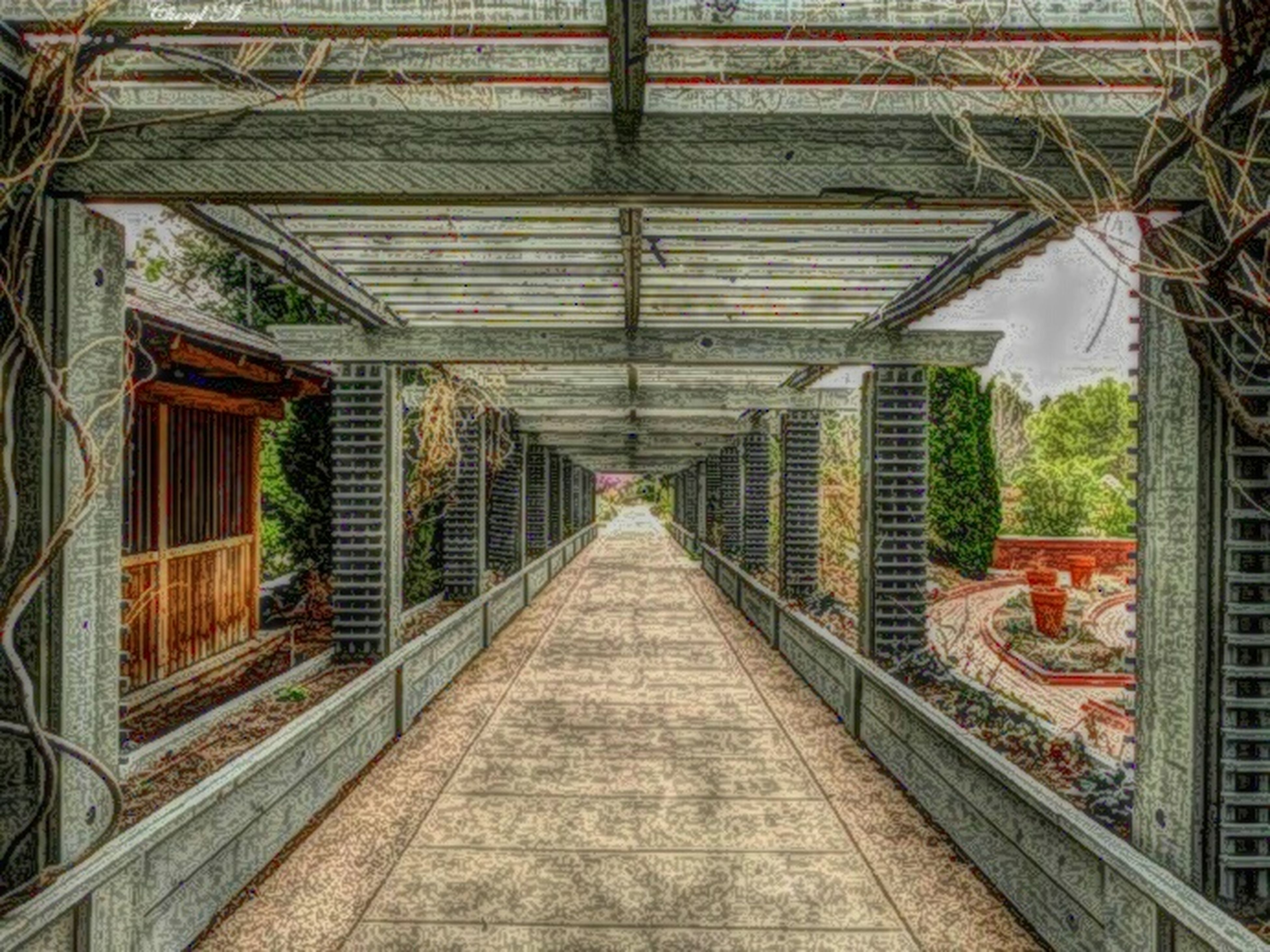 architecture, built structure, the way forward, diminishing perspective, railroad track, vanishing point, building exterior, rail transportation, transportation, railing, day, metal, connection, no people, long, ceiling, empty, building, walkway, outdoors