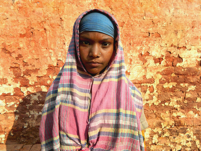 Brick Field Worker Brick Filed Casual Clothing Child Worker Close-up Front View Girl Lifestyles Person Portrait Standing Young Adult