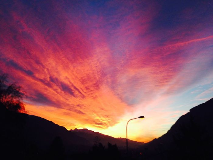 Chur Evening Sunset Colorful Colorful Sky