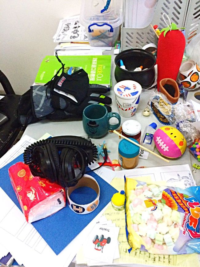Desks From Above my desk after a weekend full of Halloween classes.