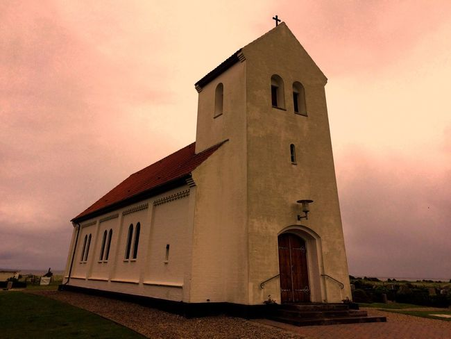 Church in Danmark Architecture Religion Building Exterior Place Of Worship Sunset Built Structure Spirituality No People Sky Outdoors Day Melancholic Landscapes Melancholy