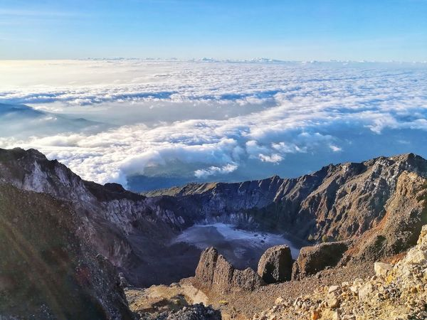 Mountain Landscape Sky Mountain Range Nature Outdoors Rural Scene No People Beauty In Nature Cold Temperature Day Cloud - Sky Rinjanimountain Rinjani Mountain Rinjani National Park Lombok-Indonesia