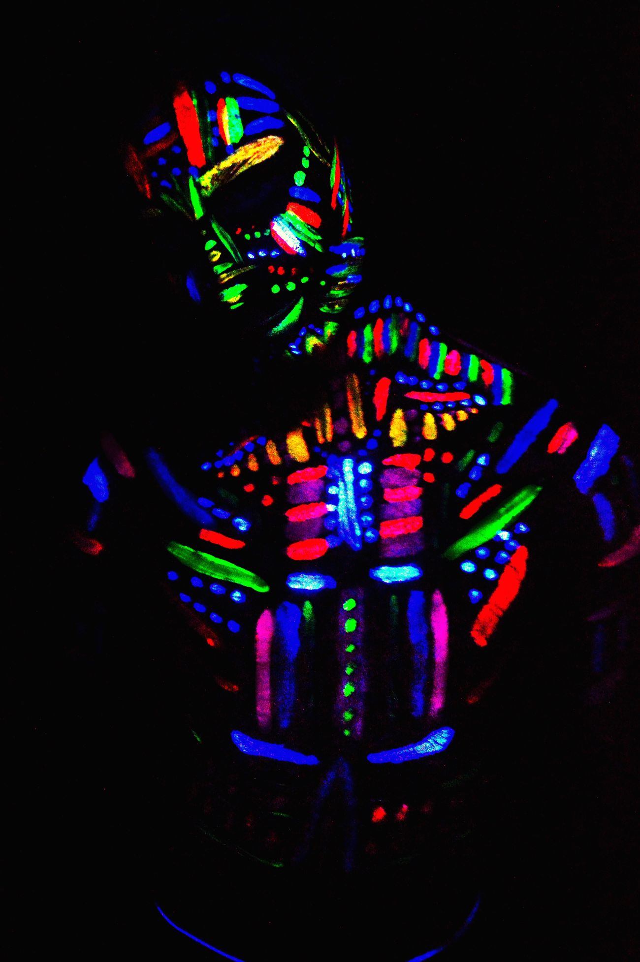 Photography Ultraviolet Photography Shoot UV  Paint Glow Flouresent Light Lights Studio Shot Model Scary Tribe Photographer Project Colour Creative Studio Studio Photography Shapes Darkroom Male Focal Point Pose Ruleofthirds Forground