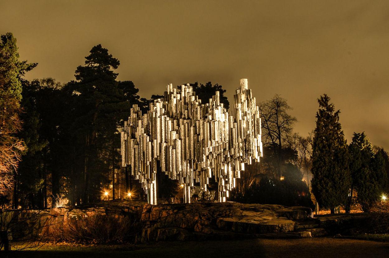 Finland Helsinki By Night Illuminated Long Exposure Night No People Sibelius Monument Sibelius Parc