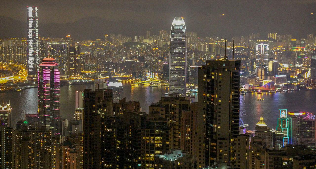 cityscape, city, skyscraper, illuminated, architecture, modern, night, building exterior, tall, no people, travel destinations, urban skyline, outdoors