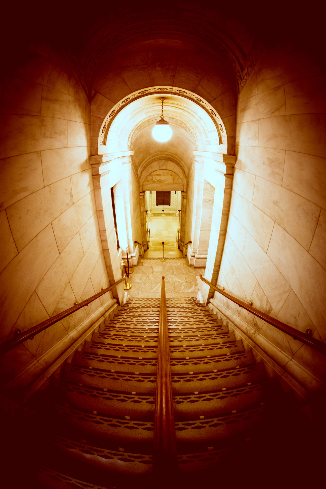 Architecture Bright Lights Built Structure Descending Dramatic Sky Escape Going Down Illuminated Indoors  Light New York Public Library No People Shadows Stairs Stairway The Way Forward