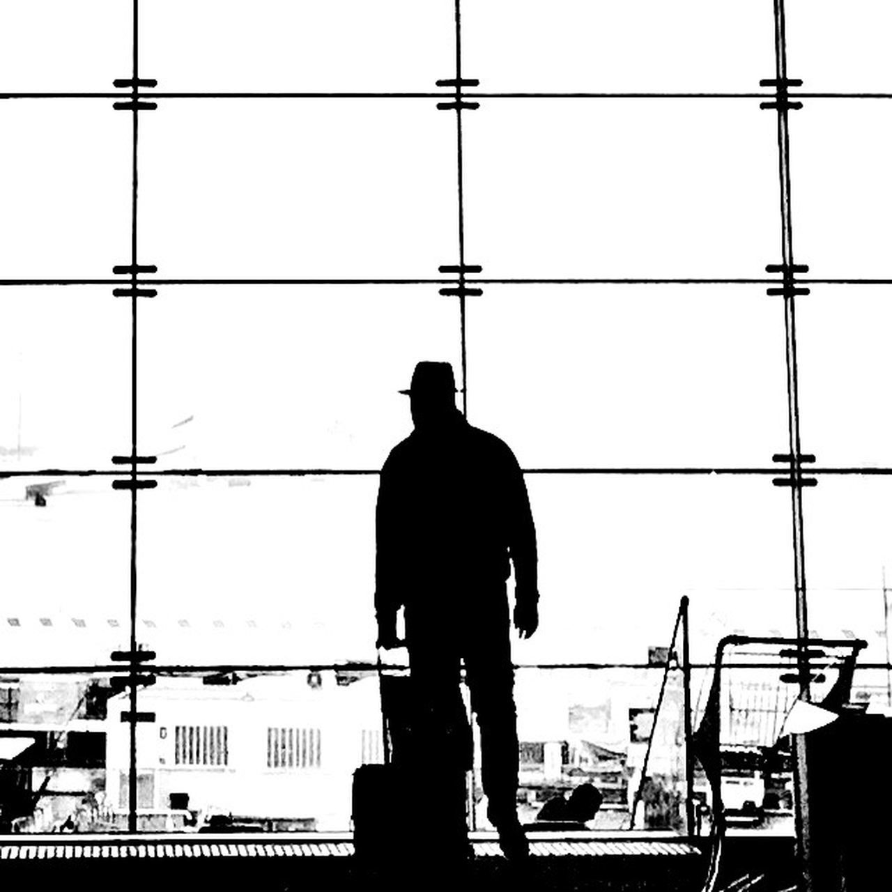 Way back 2 Silhouette One Man Only Airport One Person Men Bw_collection Week On Eyeem Blackandwhite Travel The Week Of Eyeem