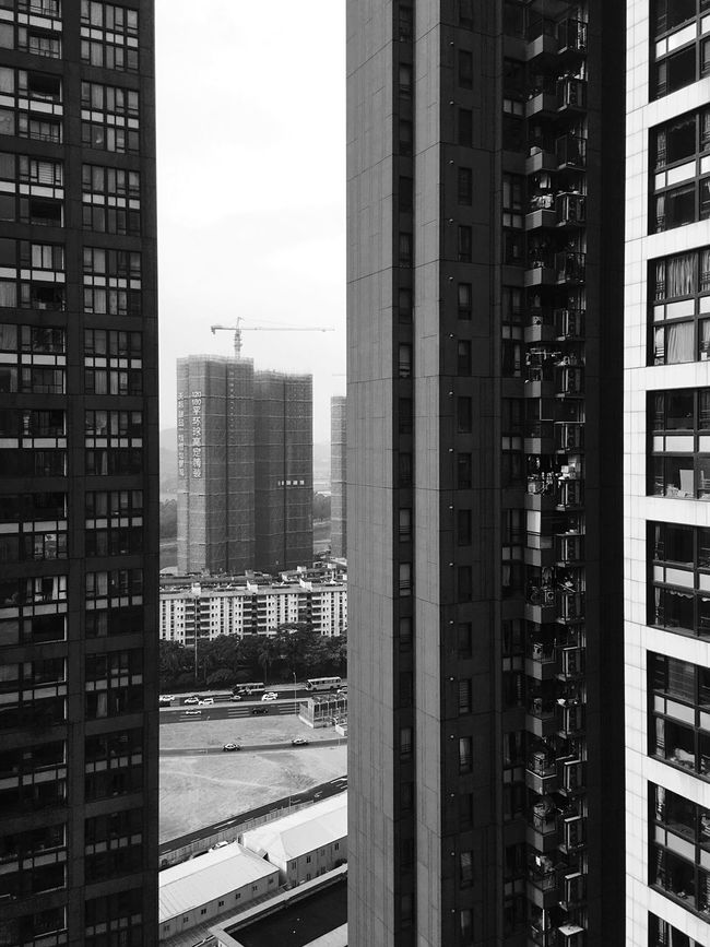 Architectural Design Architecture Built Structure Building Exterior Skyscraper Sky Window Black & White Black And White Pattern, Texture, Shape And Form Framed View Urban Skyline IPhoneography Light And Shadow Buildings & Sky Shenzhen Architecture