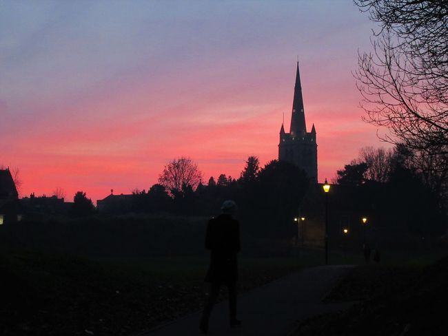 Oakham Church and castle by sunset Architecture Built Structure Castle Church Dusk Landscape Lights One Person Outdoors Pink Sky Place Of Worship Silhouette Silhouette Sky Spires Sunset Town Trees And Sky