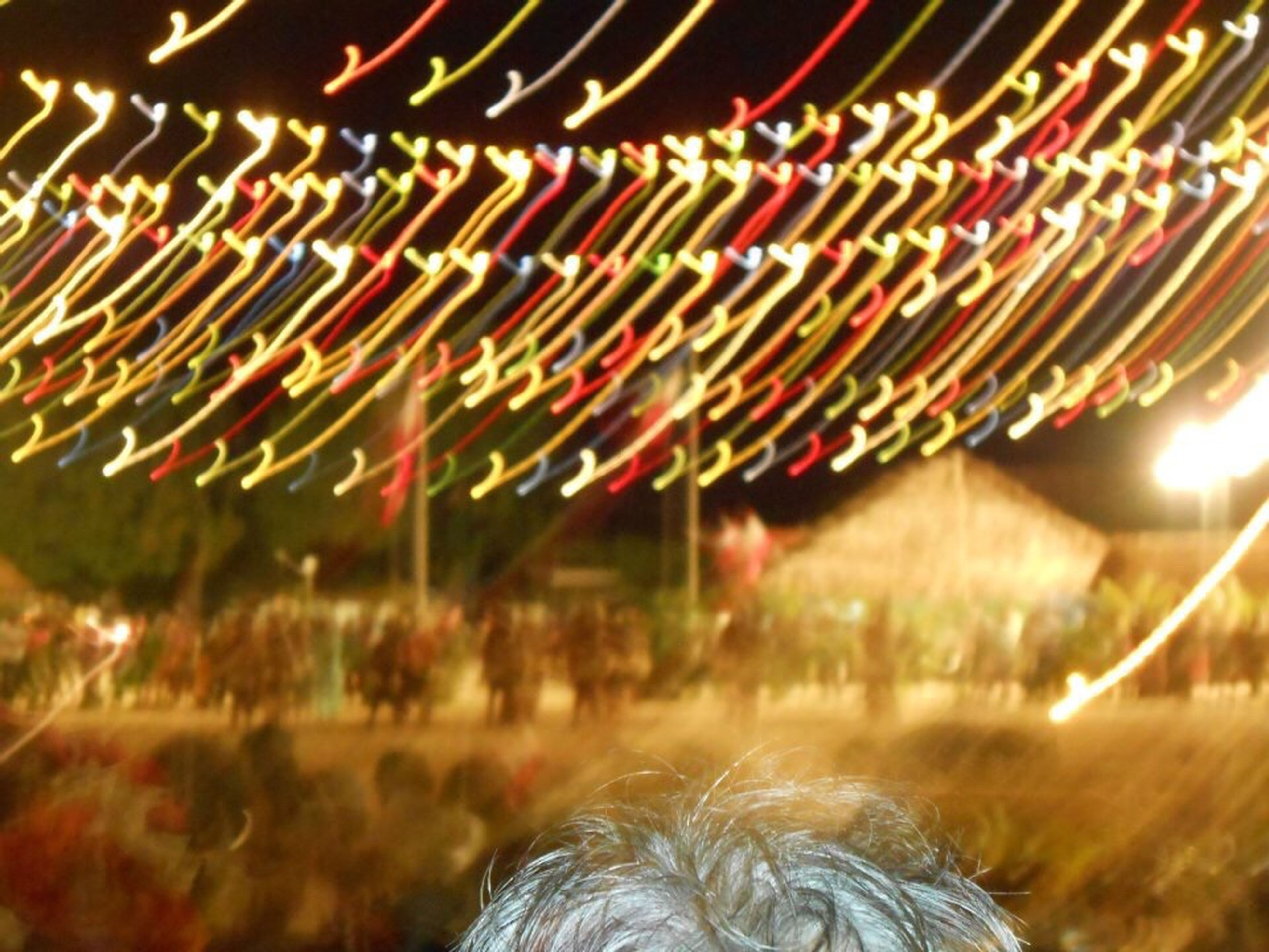 illuminated, night, multi colored, celebration, arts culture and entertainment, motion, long exposure, glowing, selective focus, decoration, outdoors, blurred motion, event, close-up, lighting equipment, no people, focus on foreground, pattern, green color, christmas lights