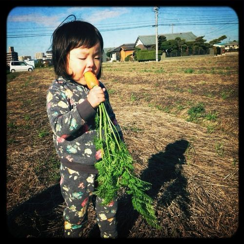My Daughter Eating Carrot in 畑