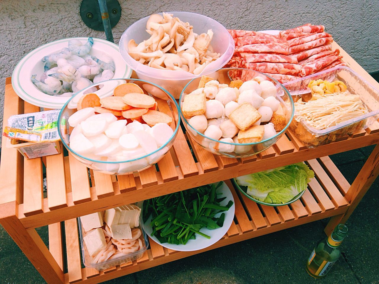 High Angle View Of Raw Food On Table