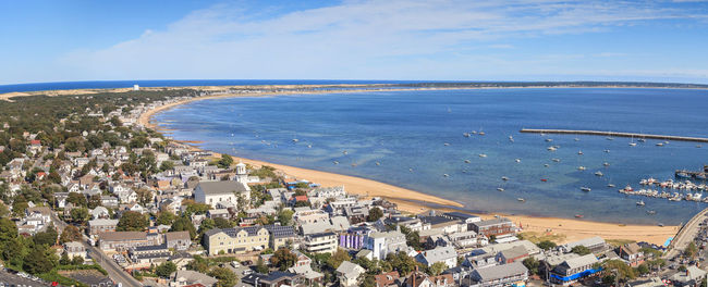 Provincetown, Massachusetts, Cape Cod city view and beach and ocean aerial view from above. Aerial Shot Aerial View Beach Cape Cod City Cityscape Coastal Coastline Day Massachusetts Ocean View Outdoors Panorama Panorama View Panoramic Photography People Provincetown  Sea Water