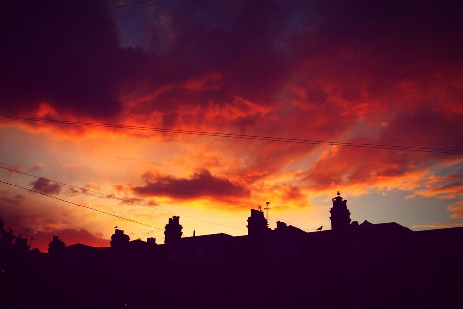 Fire in the Sky. (Stepped out the house to this beauty!) Silhouette Sunset Architecture Sky Built Structure Building Exterior Cloud - Sky Low Angle View No People Outdoors Nature Beauty In Nature Rooftop Fire Orange Burnt EyeEmNewHere