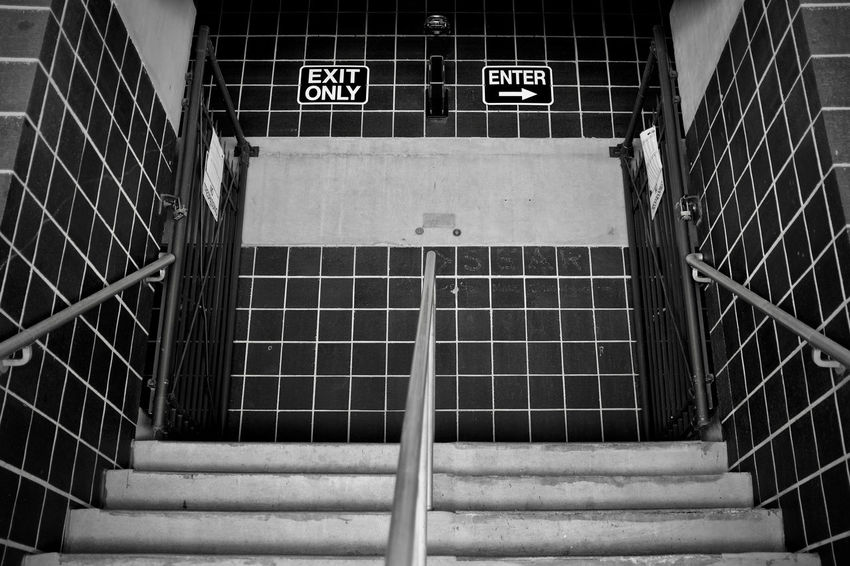 Exit Enter Architecture Built Structure Communication Day Indoors  No People Street Photography Text