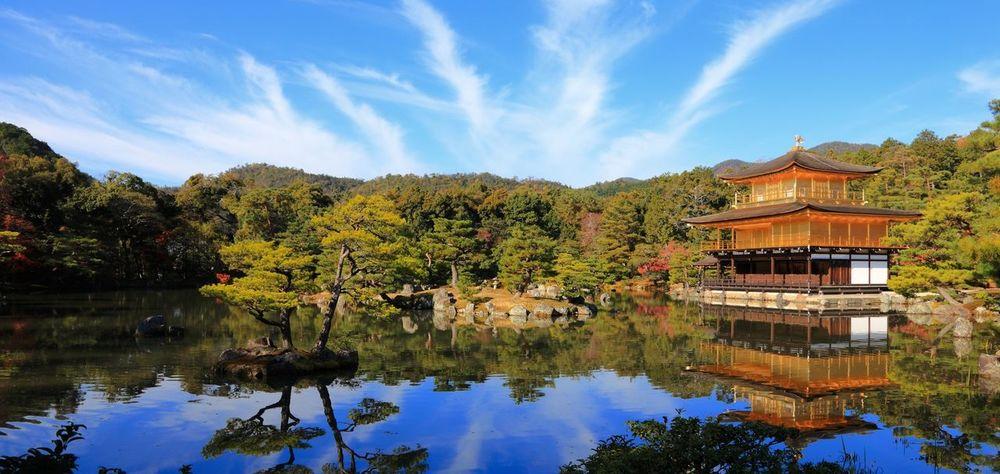 Autumn Beauty In Nature Exploring Horizontal Symmetry Japanese Culture Japanese Garden Japanese Temple Lake Lakeshore Lush Foliage Majestic Reflection Riverbank