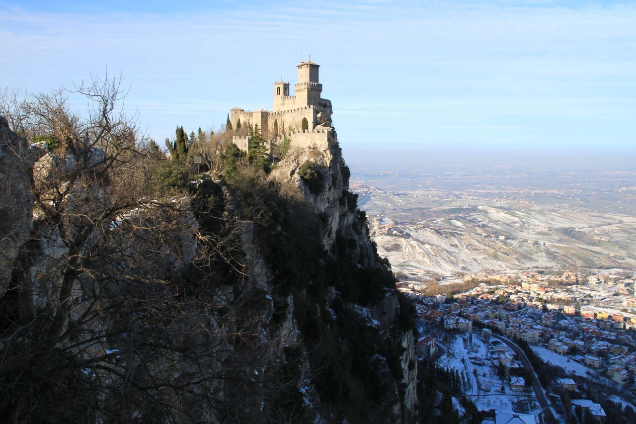 Architecture Building Exterior Built Structure Castle Europe History Italy Landscape Mountain Nature No People Outdoors San Marino Winter Monte Titano Guaita Prima Torre