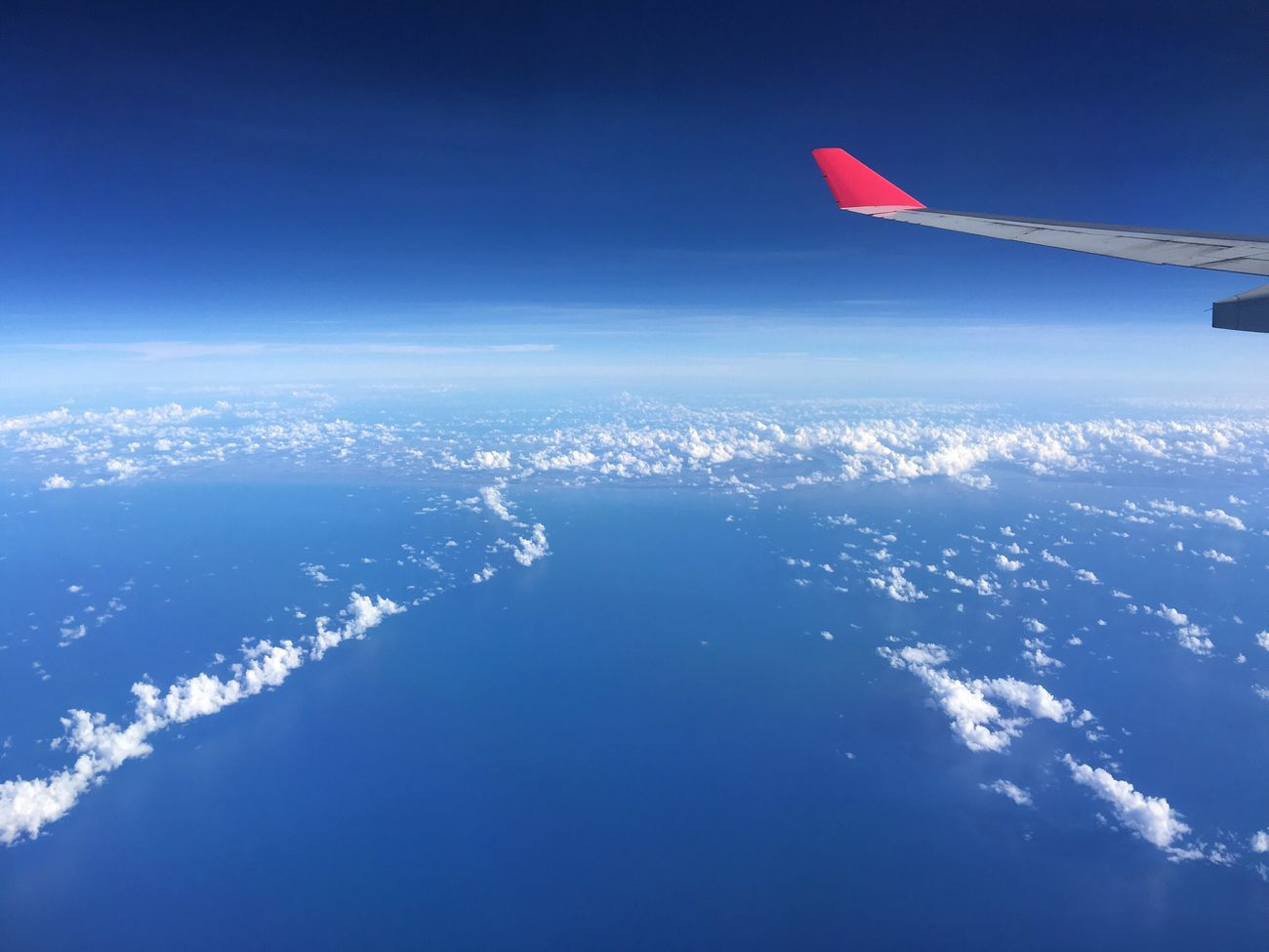 Flying Sky Airplane Nature Transportation No People Sea Outdoors Aircraft Wing Scenics Airplane Wing Air Vehicle Horizon Over Water Cloud - Sky Beauty In Nature Day Water