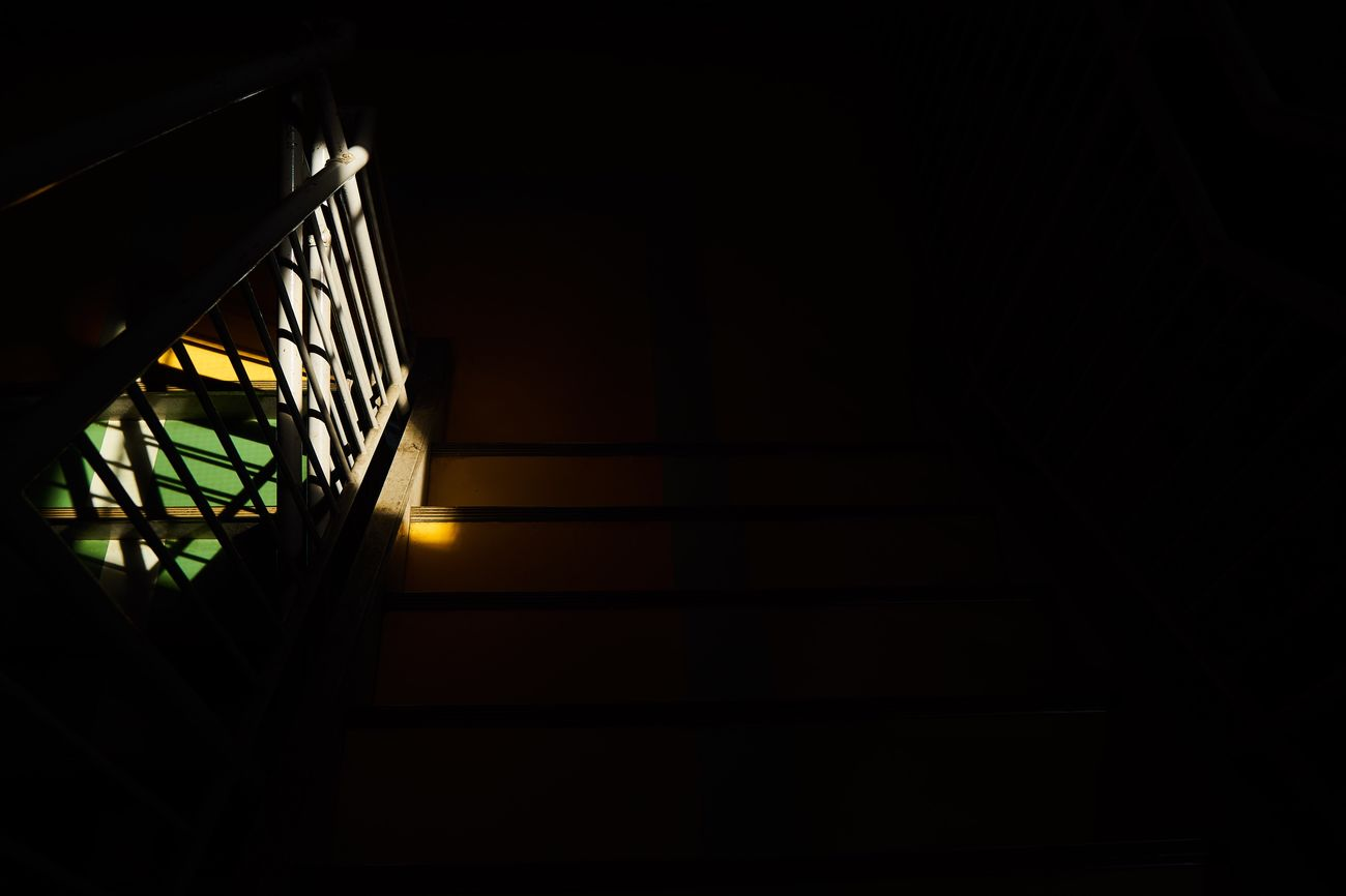 Staircase Steps And Staircases Steps Built Structure Architecture Railing No People Low Angle View Indoors  Stairway Hand Rail Day Stairs Darkness And Light Dark Photography EyeEm Best Shots Eye4photography  Abstract Photography