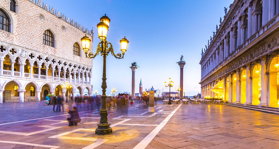 Palazzo Ducale with Piazzetta in Venice at sunset Ancient Attraction Baroque Blue Hour Canale  Canale Grande City Destination Doge Ducale Italy Light Marco Molo Palast Palazzo Piazetta San Marco Sightseeing Square Sunset Tourist Travel Venedig Venice