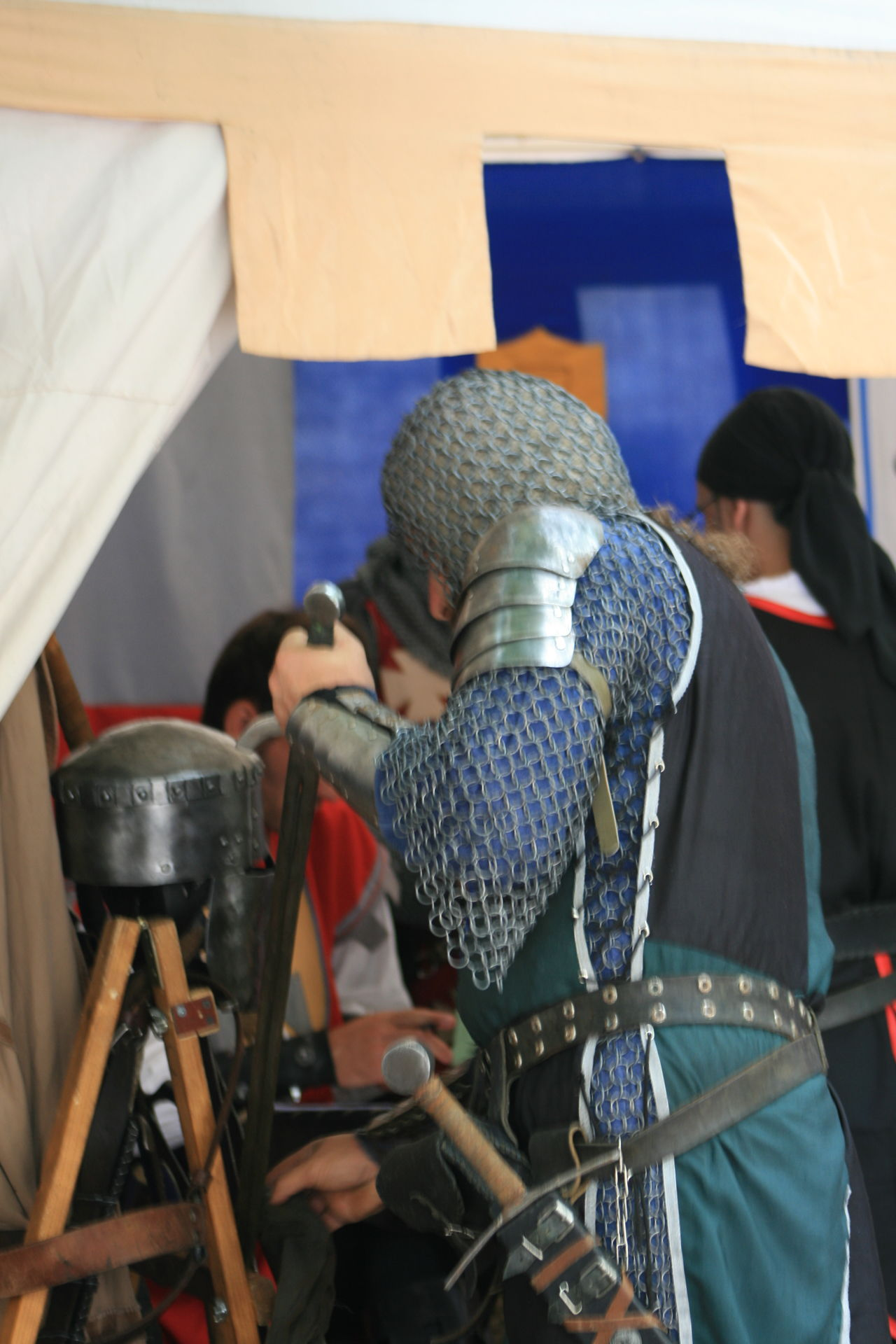 Armour Cavalier  Day Men Protection Real People Shield Sword Tent