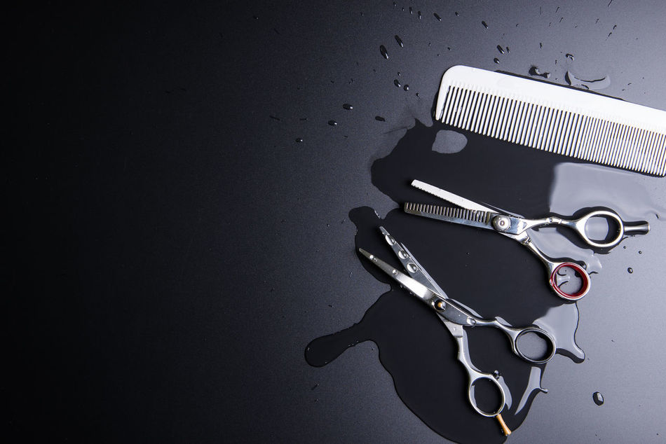 Stylish Professional Barber Scissors and white comb on black background. Hairdresser salon concept, Hairdressing Set. Haircut accessories. Copy space image, flat lay Accessory Arts Culture And Entertainment Background Barber Closeup Comb Cut Cutting Design Equipment Fashion Hair Hair Salon Hair Style Haircut Hairdresser Hairsalon Hairstyle Hairstyles Hairstylist Music Professional Salon Scissor Sharp