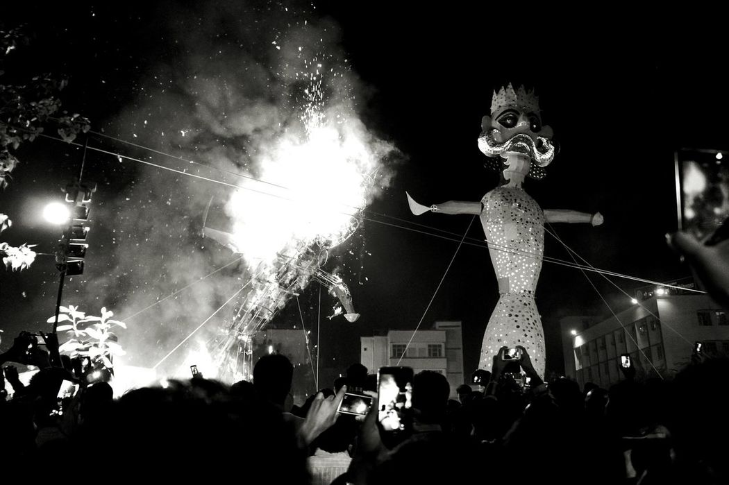 Dusshera Dussehra Dussera Ravana Religion And Beliefs Effigy Burning Fire And Flames Streetphotography Eyem Best Shots Popular Photos India_clicks Incredible India Indian Culture  Indian Festival Mirrorless Black And White Photography Black And White Collection  EyeEm Best Shots Monochrome Delhi, India Ramlila Fun Street Photography Madness