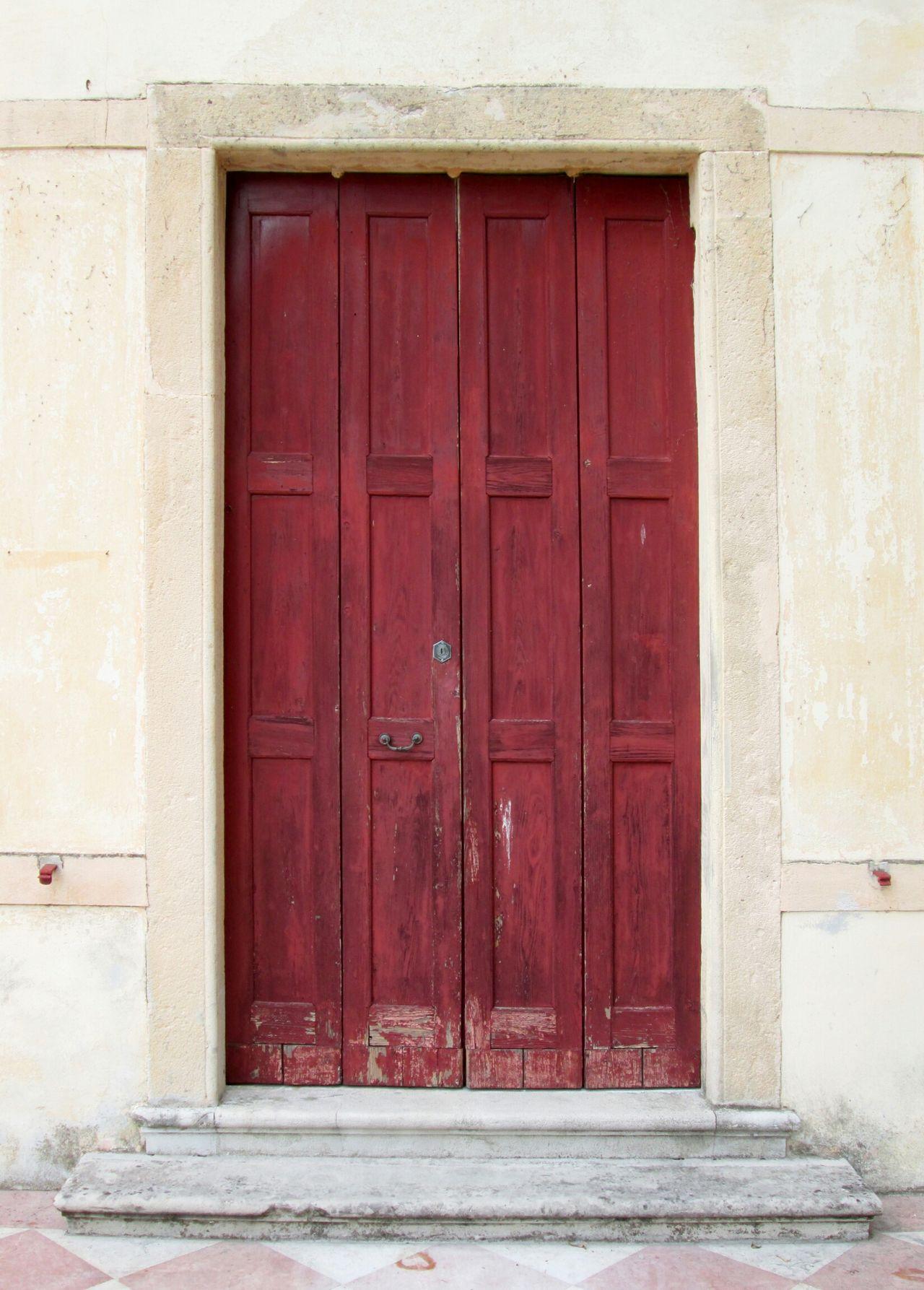 Old Door Wooden Door Red Door Weathered Door Concrete Wall Architectural Detail Rectangle Shape Yellow Beige Cream Scratched Door Closeupshot