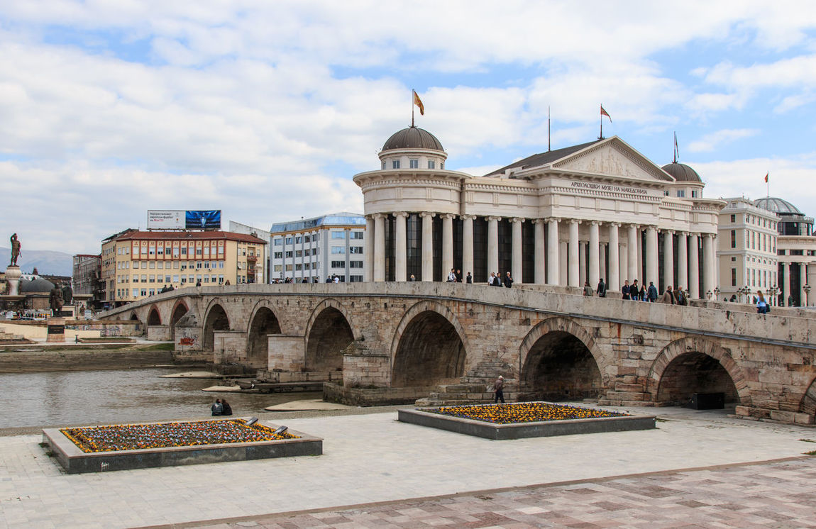 Macedonian archaeological museum in Skopje and Stone bridge, Macedonia Arch Architectural Column Architecture Arts Culture And Entertainment Balkans Building Exterior Built Structure Capital Cities  City Cloud - Sky Day Dome East Europe Façade Famous Place History International Landmark Macedonia Monument Skopje Sky The Past Tourism Travel Travel Destinations
