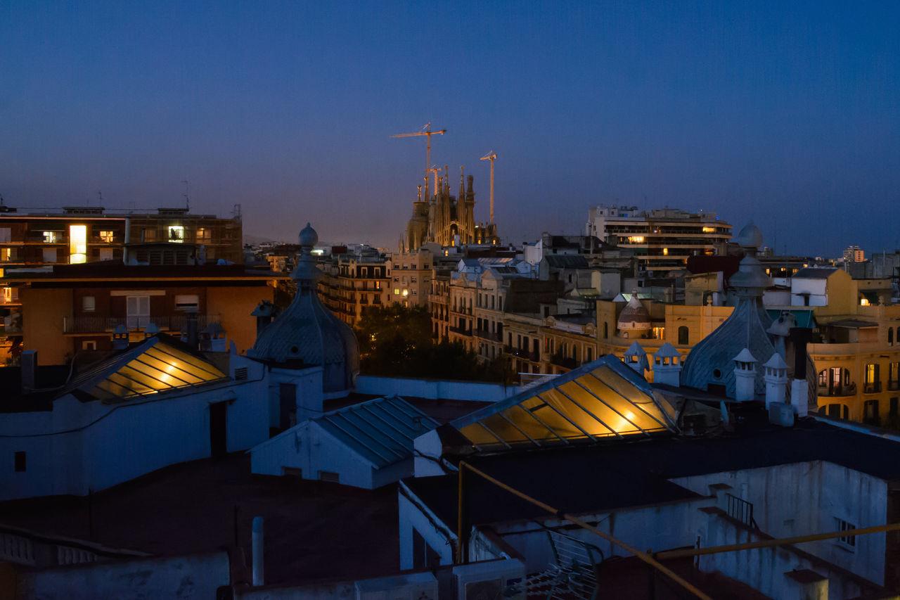 On the Rooftops of Barcelona Architecture Barcelona Building Exterior City Cityscape Exploring Style Illuminated Momentum Night Nightphotography Nightscape No People Outdoors Sagrada Familia Sagradafamilia Sky SPAIN Traveling