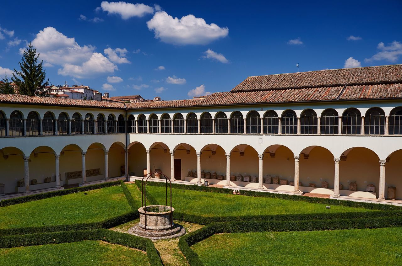 Etruscan Museum, Perugia Perugia Italy Umbria Courtyard  Cloister Arcade Arches Historic Historical Building Architecture Lawn Grass Garden Blue Sky Renaissance Renaissance Architecture Museum Built Structure Building Exterior No People Etruscan Museum Vivid